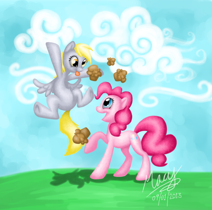 Derpy's surprise for Pinkie by BananaSplitzel
