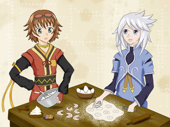 Tales: Genis giving cooking tips to Rita by KawaiiStorm