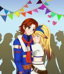 Saito and Xiaomu dressing like Vyse and Fina