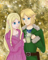 Hyrule Warriors.- Link and Zelda Christmas by KawaiiStorm