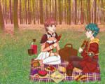 Baten Kaitos Sagi and Milly picnic by KawaiiStorm