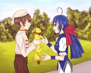 KOF: Bao helping Hotaru find her pet by KawaiiStorm