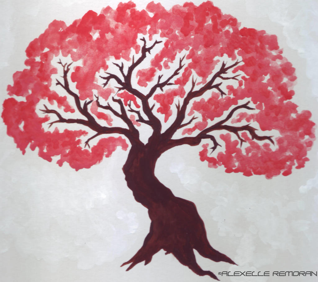 Simple cherry blossom tree by alexelleremoran on deviantart for Simple cherry blossom painting