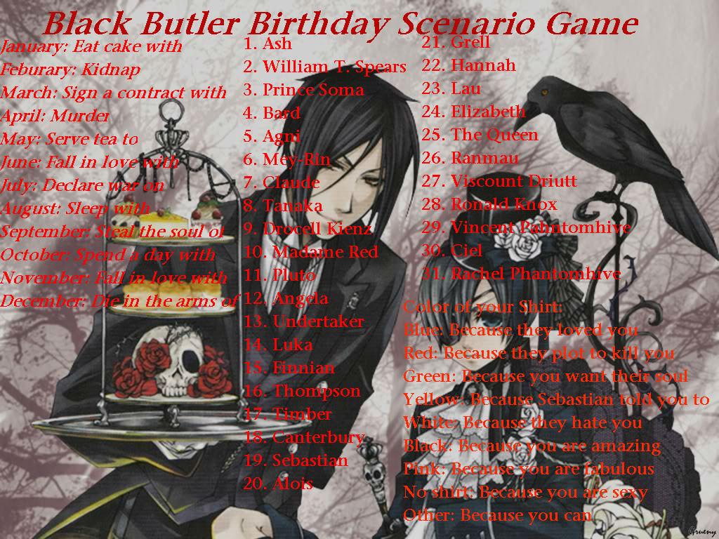 black butler birthday scenario game by frostrinaurablue on deviantart