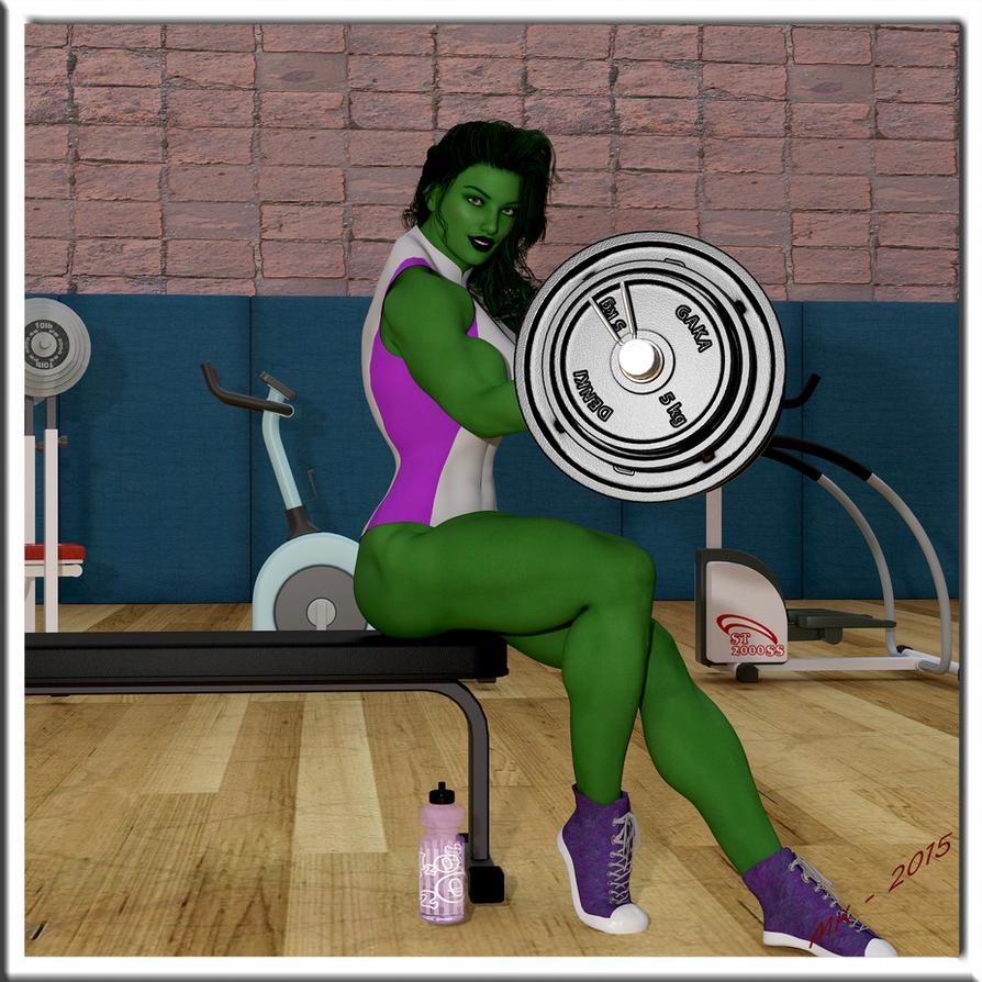 She-Hulk Getting Her Pump On by Shulkie