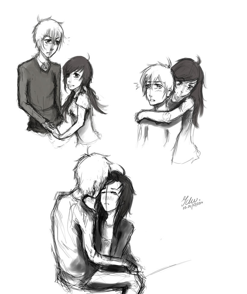 Sketches to manga- some 'romantic' poses by Ichuuu