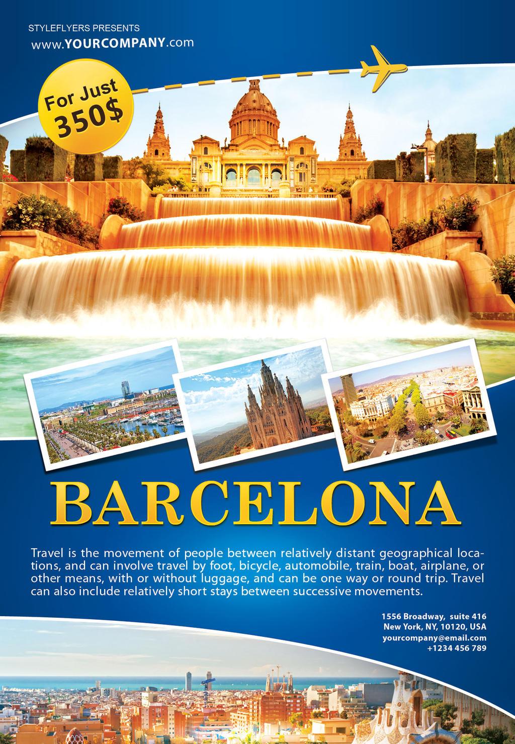 Barcelona Travel Flyer By Styleflyers
