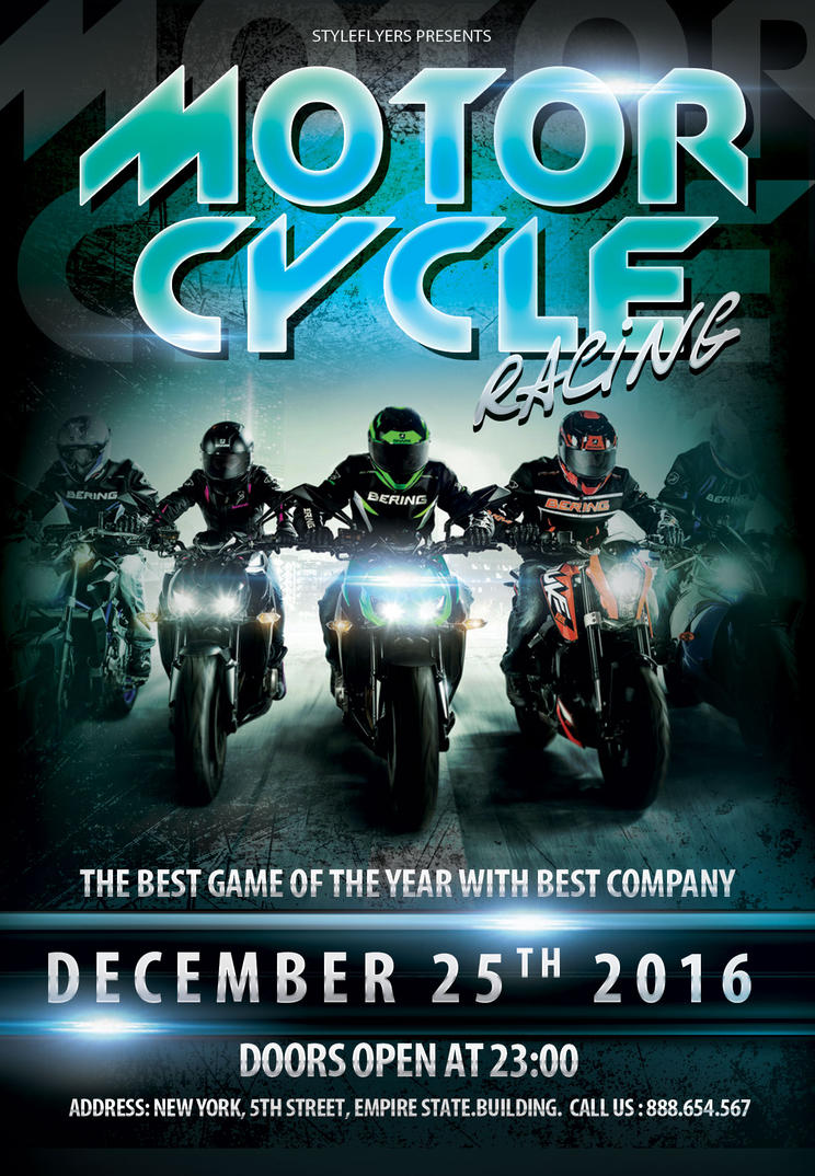 motorcycle racing sport flyer by styleflyers