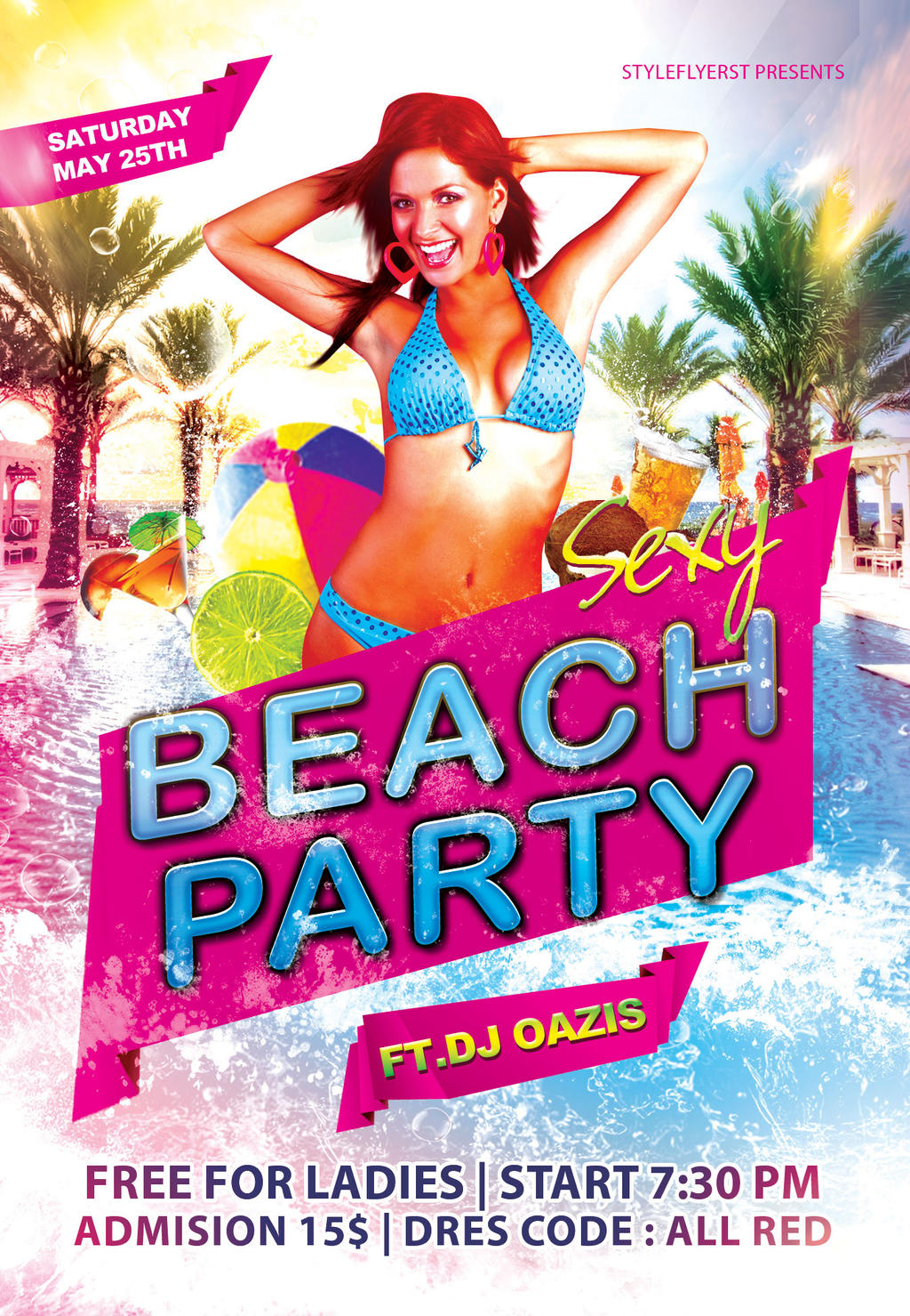 ... Sexy Pool Party Flyer Template  By Styleflyers