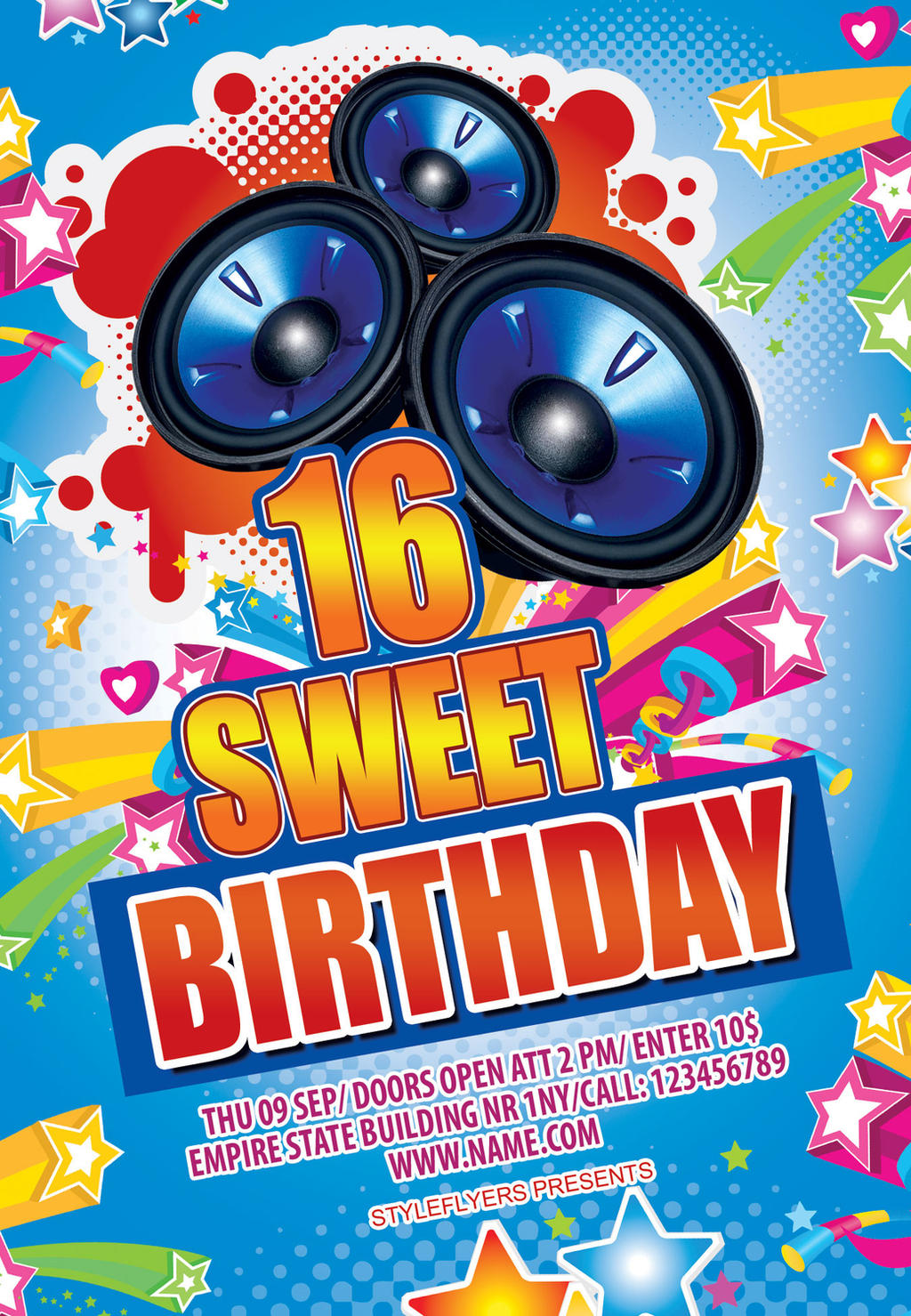 sweet 16 birthday party flyer by styleflyers