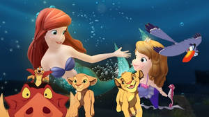 Sofia simba and his friends meets ariel