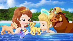 Simba and his friends with sofia and oona