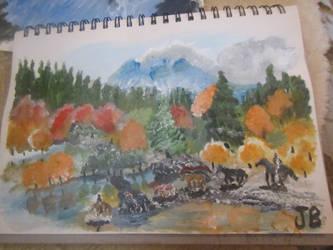 Horses in a mountain scene by Scrubs3