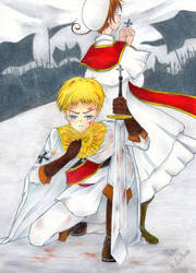 APH :: Knight HRE and Priest Chibitalia :: by black-wolf-tala
