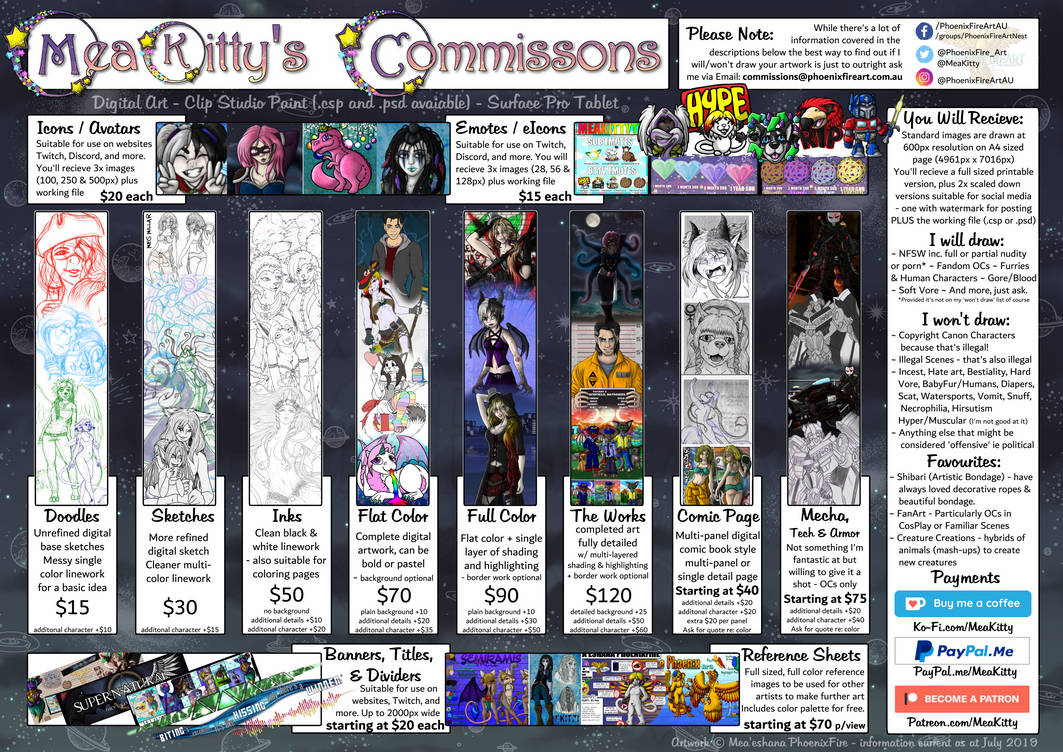 Commissions Sheet (July 2019)