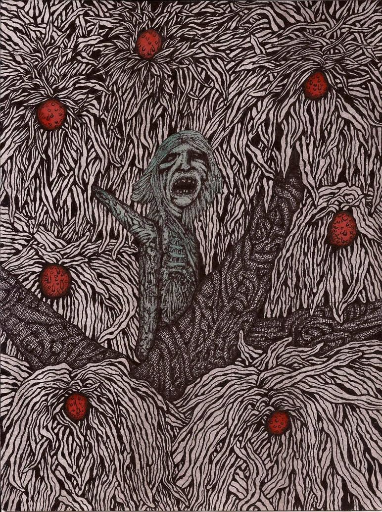 Green Woman in the Blood Fruit Tree by darkallegiance666