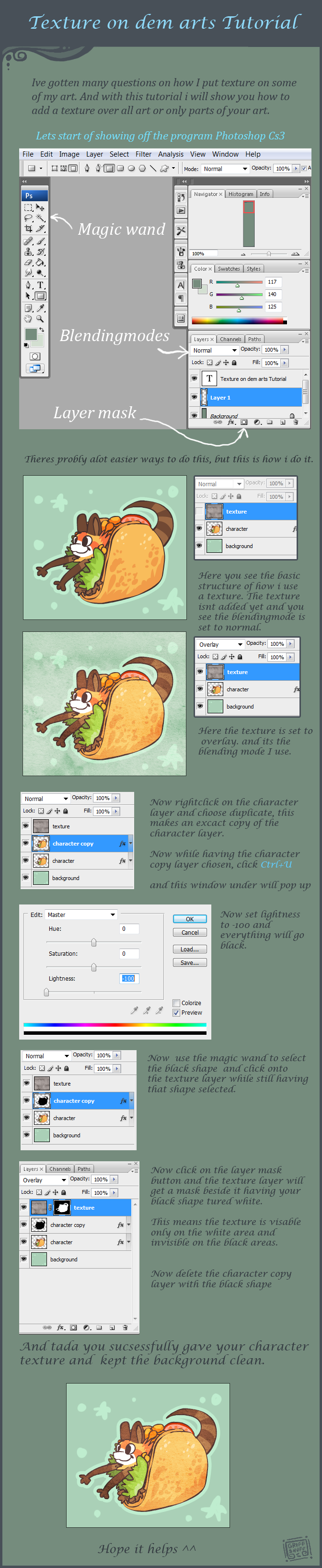 How to add texture to art tut by griffsnuff