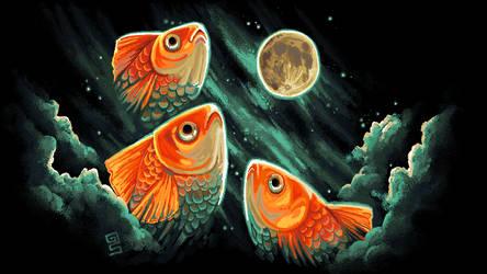 3 goldfish 1 moon mspaint by griffsnuff