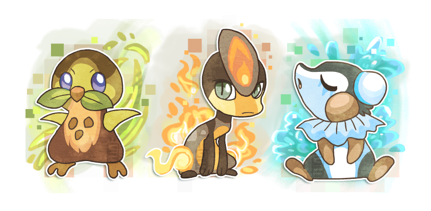 Fakemon starters! by griffsnuff on DeviantArt