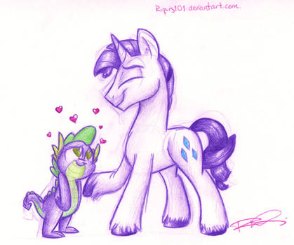 Spike and Rarity R63 sketch by Riquis101