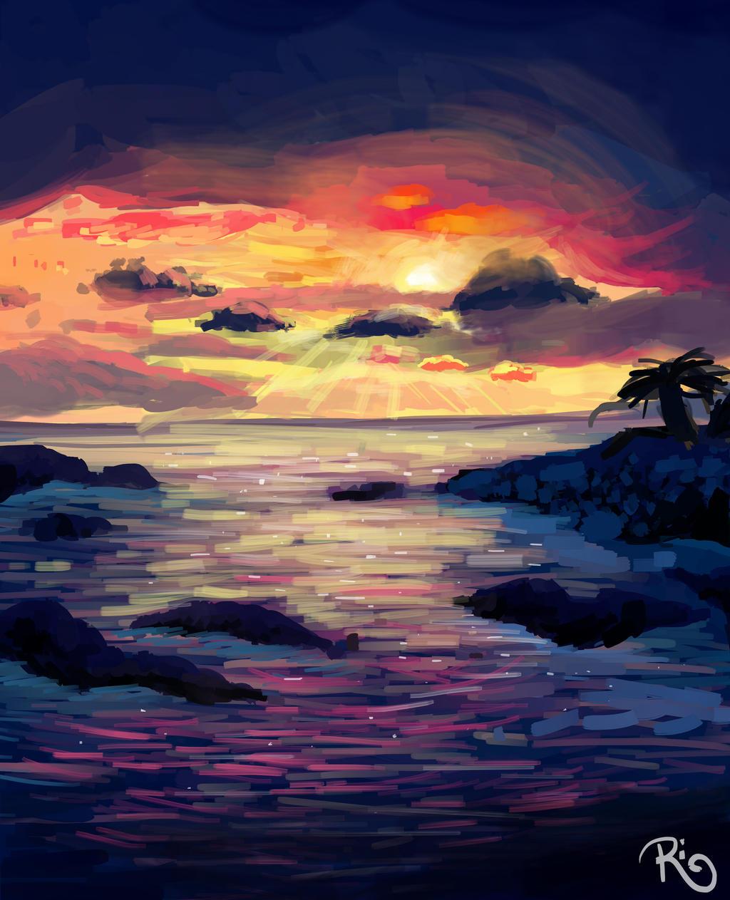 Hawaiian sunset by Riquis101