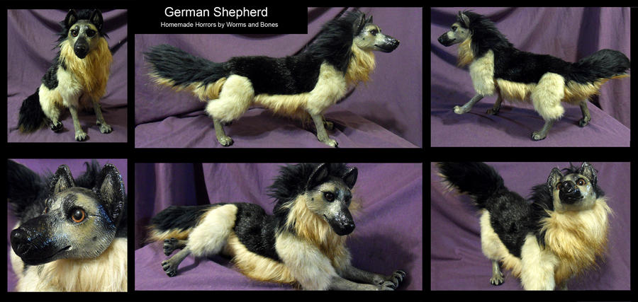 German Shepherd Soft Sculpture by WormsandBones