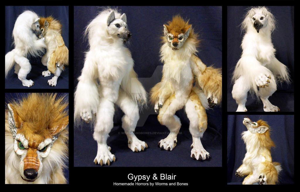 Custom Werewolf Dolls: Gypsy and Blair by WormsandBones