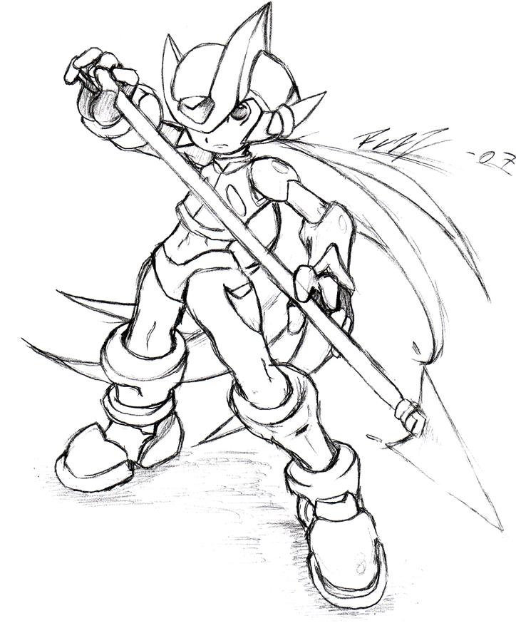 Line Art Zero : Megaman zero pencil art by razz on deviantart