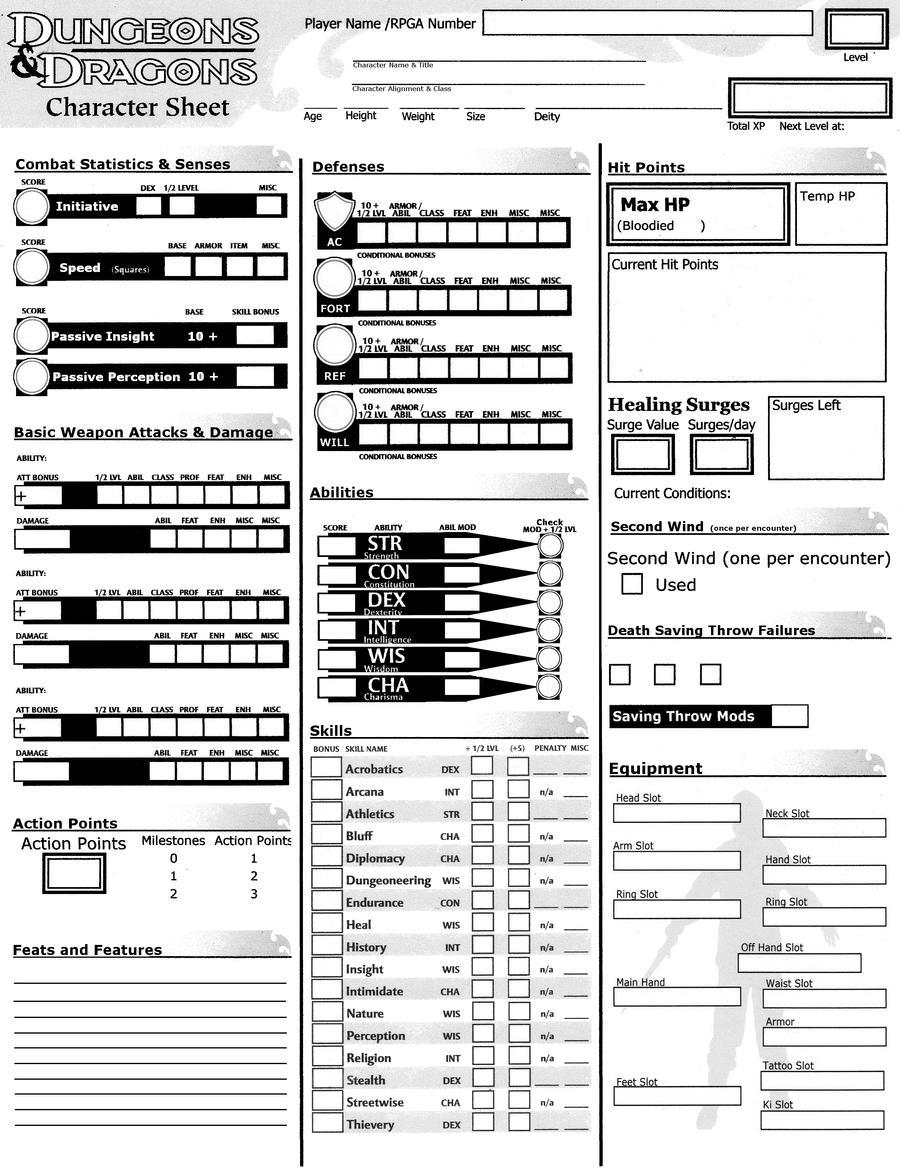 Dynamic image regarding printable dnd character sheet