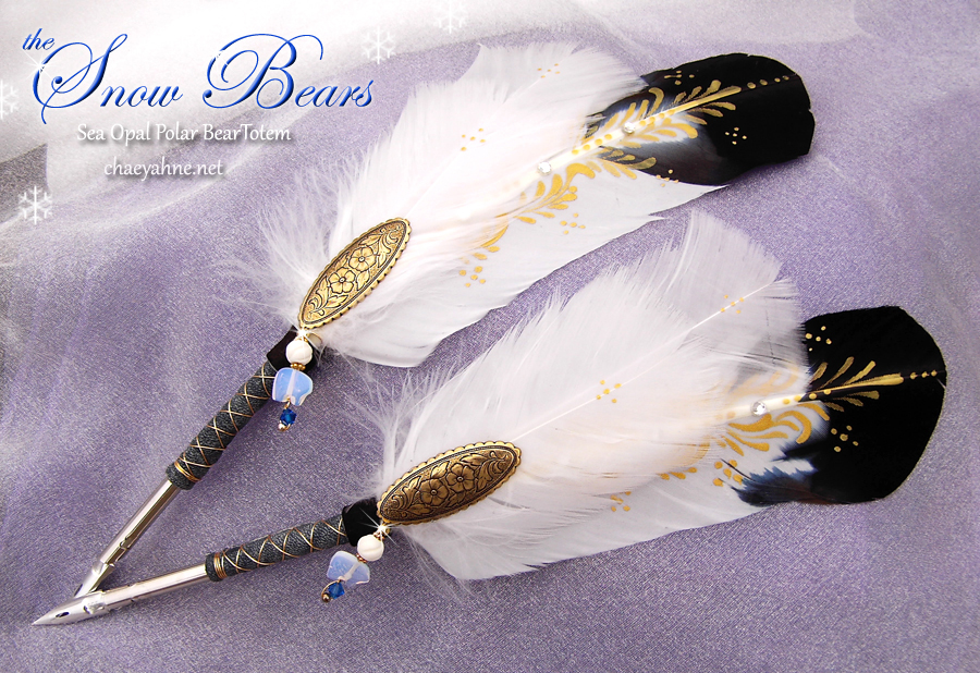 Snow Bears Feather Quill Pens by ChaeyAhne