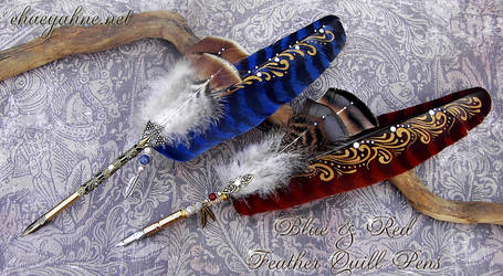 Blue and Red Feather Quill Pens by Chaey