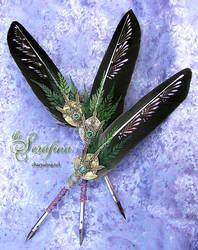 The SERAFINA ... Golden Compass Feather Quill Pen