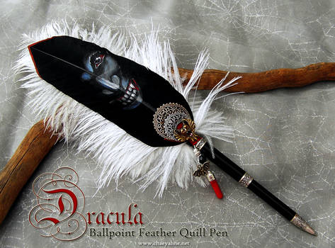DRACULA Vampire Feather Quill Ballpoint Pen