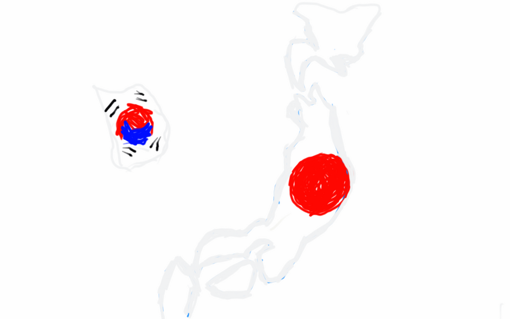 Japan and South Korea flag map by UNPSTcommandermark on