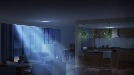 Living Room Penthouse Night - Visual Novel BG by TamagochiKun