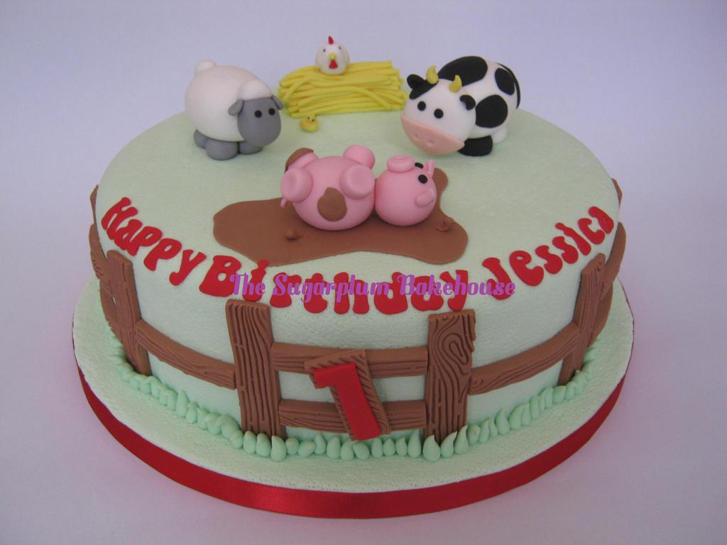 Farm Themed 1st Birthday Cake By Sugarplumb On Deviantart