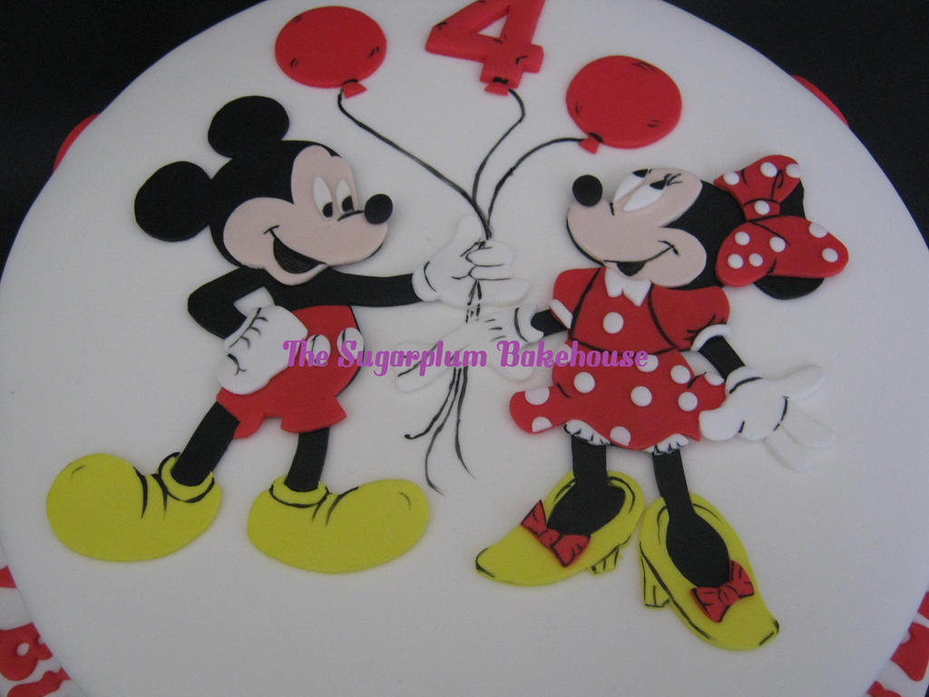 Mickey and minnie mouse birthday cake by sugarplumb on for Minnie mouse cake template free