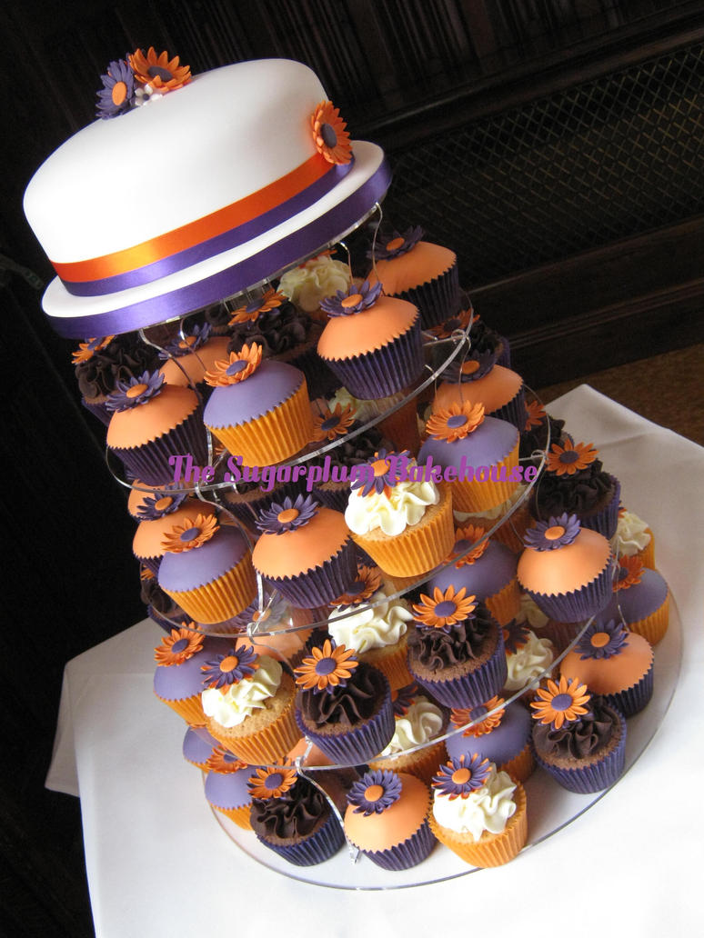 purple and orange wedding cake ideas purple and orange wedding cupcake tower by sugarplumb on 18864