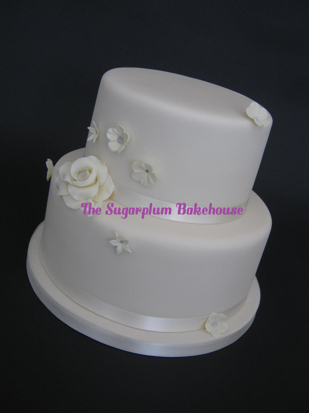 Simple Elegant Wedding Cake by SugarplumB on deviantART