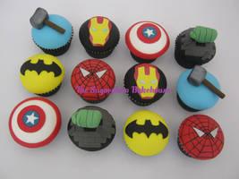 Marvel / DC Comic Superhero Cupcakes by SugarplumB