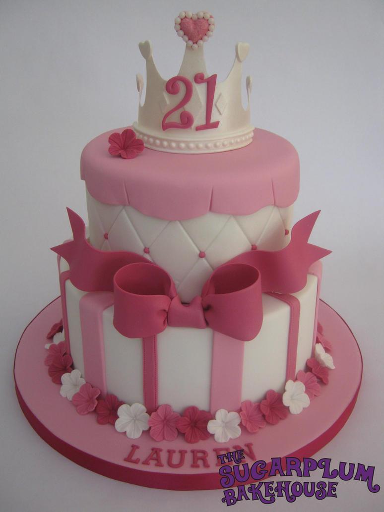 Girly Cake Images : 2 Tier Girly Princess 21st Birthday Cake by SugarplumB on ...