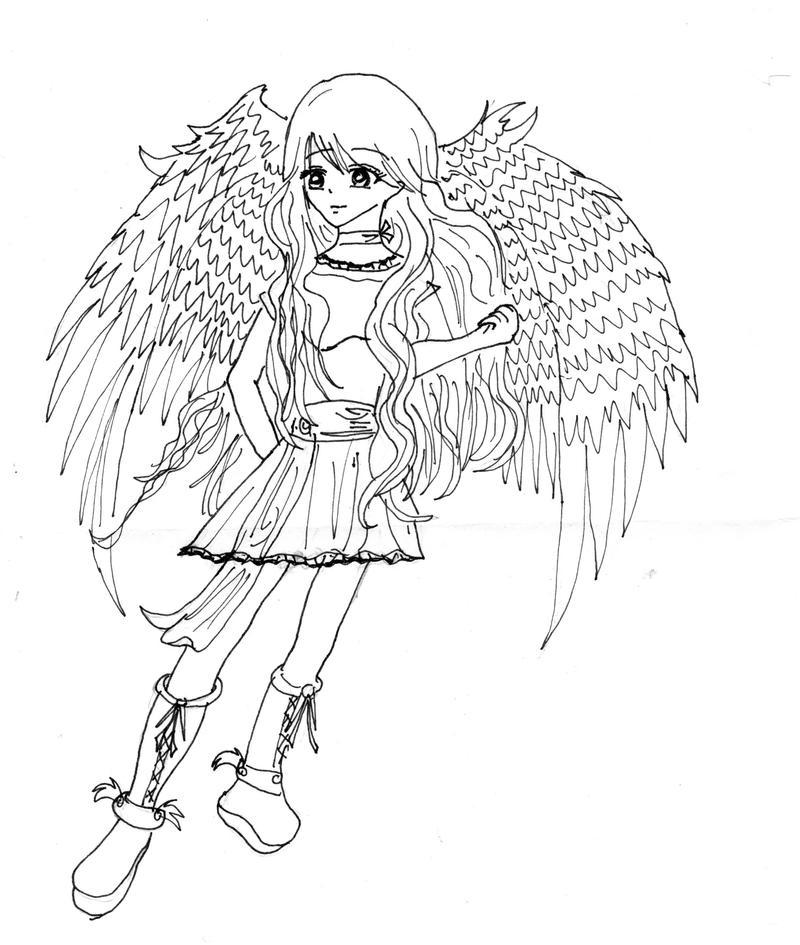 Line Art Angel : Angel lineart by anime kelsey on deviantart