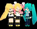 Miku, Rinto and Lenka