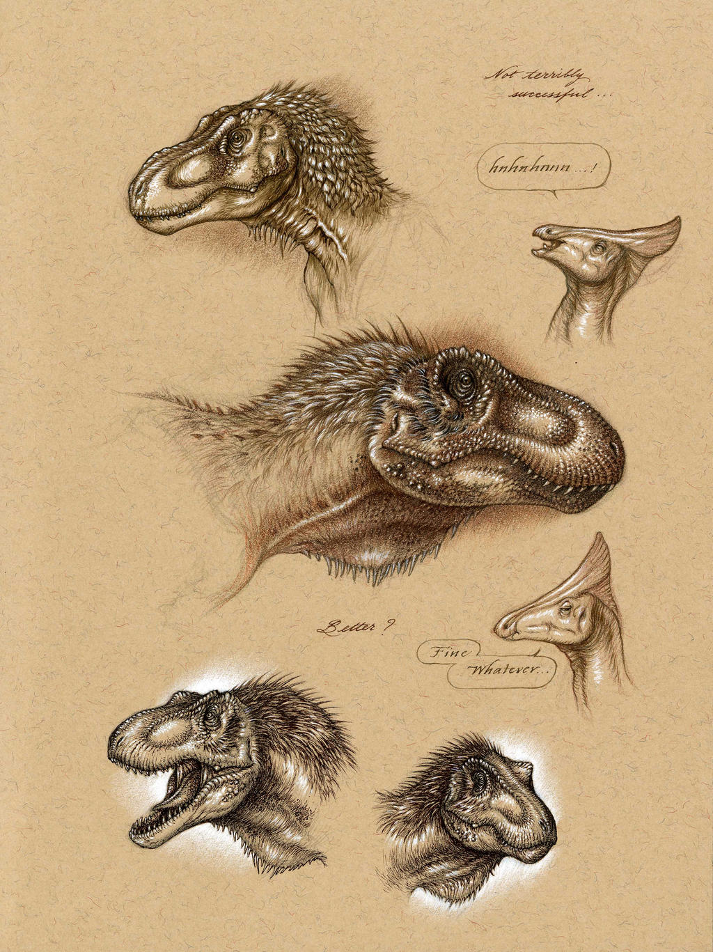 Tarbosaurus Head Studies by Himmapaan