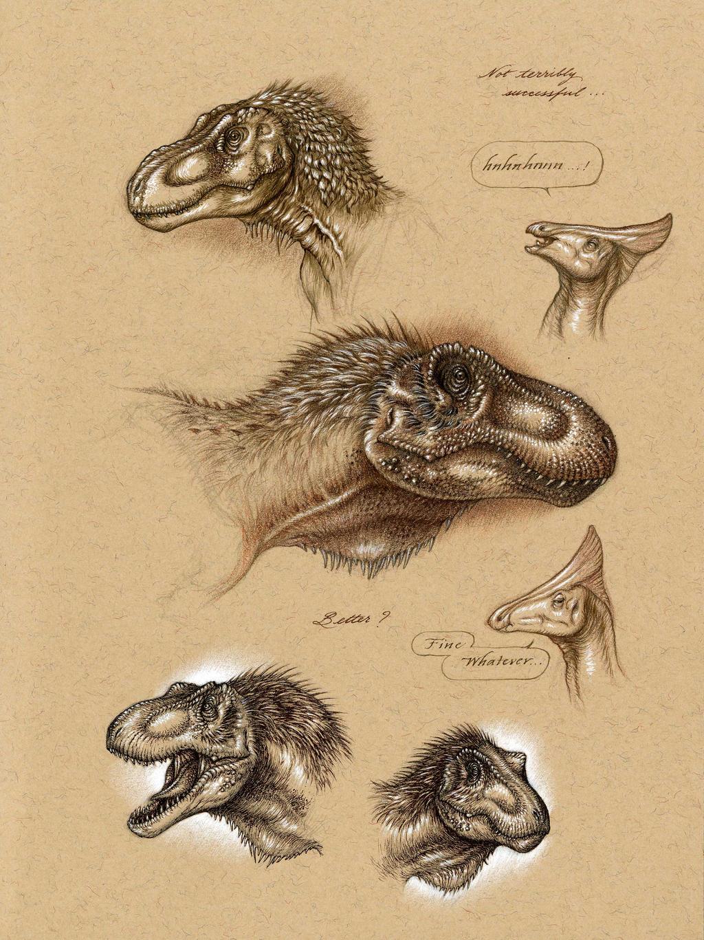 Tarbosaurus Head Studies by Himmapaan