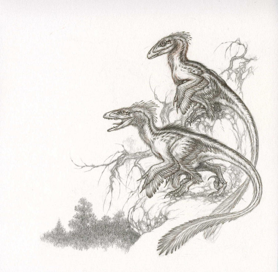 Deinonychus Pair by Himmapaan