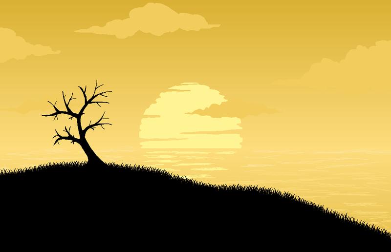 Pixel art sunset by Joazzz