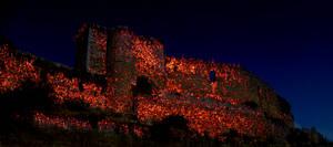 Castillo de Ucero en llamas