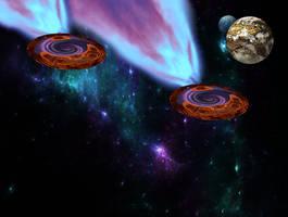 Naves espaciales con portales interplanares by Jakeukalane