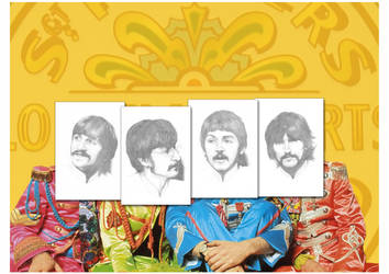 Sgt Pepper All Sketches A3 by Carl-Seager